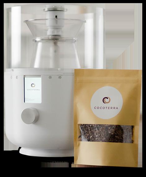 CocoTerra chocolate making machine and cocoa nibs