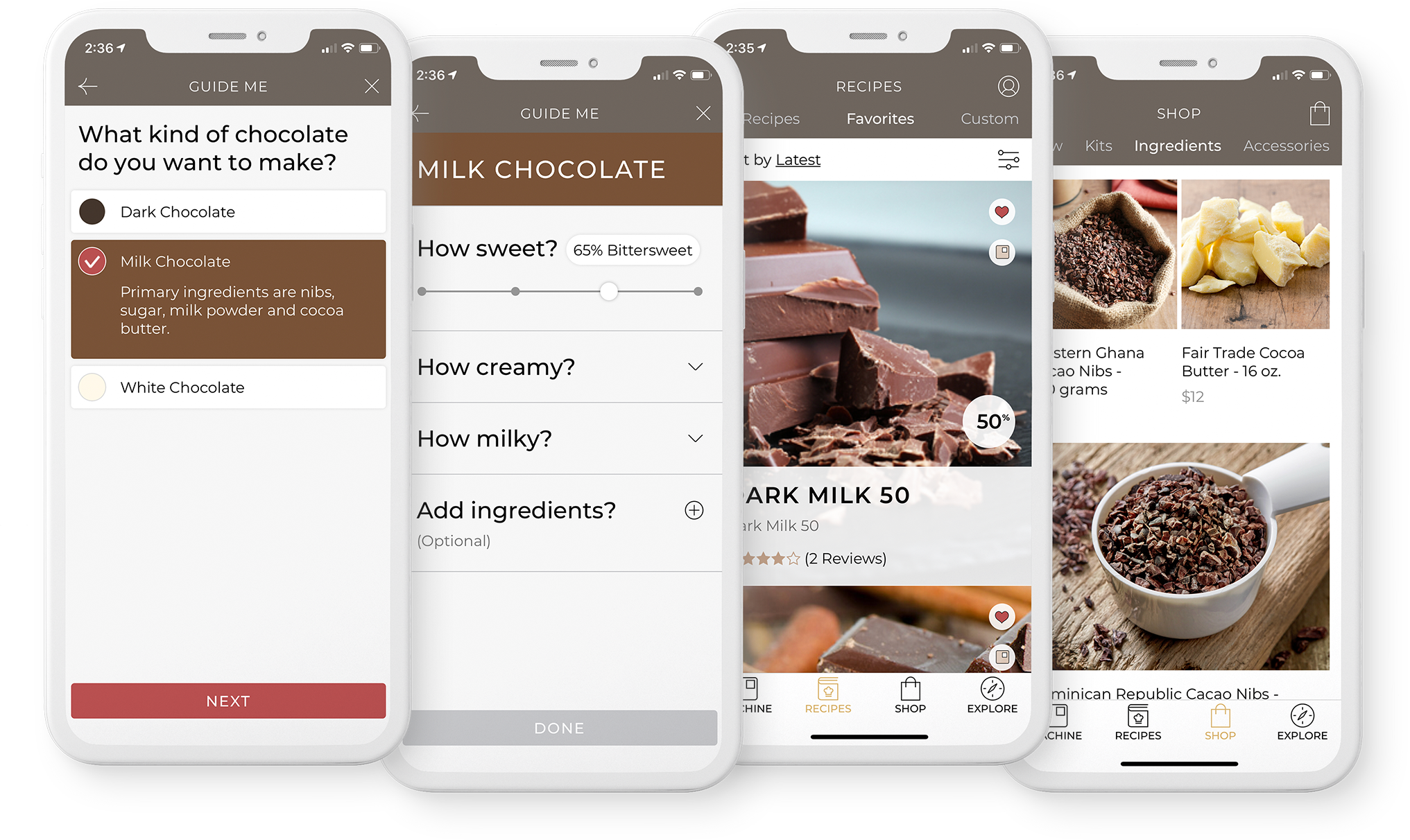 CocoTerra mobile app allows you to select recipes, buy ingredients and track your chocolate making.