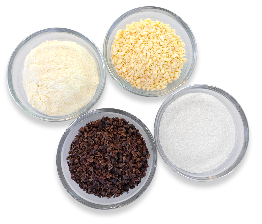 Cocoa nibs, cocoa butter, milk powder and sugar are all you need to make chocolate with CocoTerra