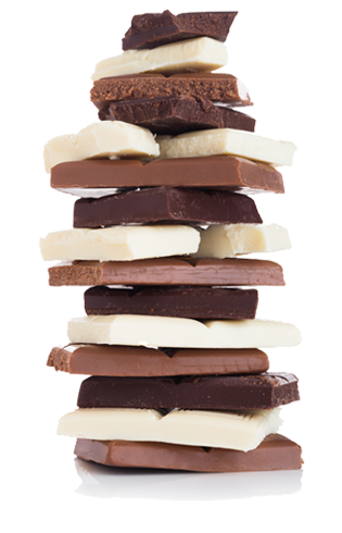 Stack of dark, milk and white chocolate.  Custom chocolate recipes that you can make at home.